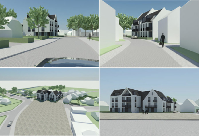 Een impressie van hoe het appartementencomplex er eventueel kan uitzien. Uit: voorontwerp Ruyterhof Rijsbergen, bron:  Oomen architecten