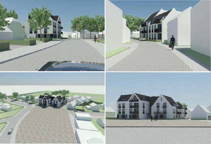Een impressie van hoe het appartementencomplex er had moeten uitzien. Uit: voorontwerp Ruyterhof Rijsbergen, bron:  Oomen architecten