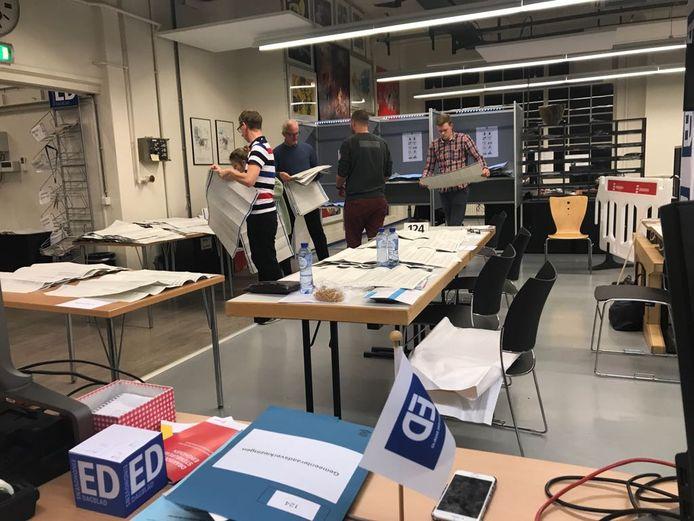 Tellen van de stemmen op het stembureau op de redactie van het ED in het Glasgebouw in Eindhoven.