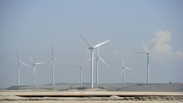 Windmolens op de Tweede Maasvlakte, het uitbreidingsproject van de Rotterdamse haven. Beeld ANP