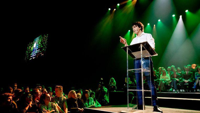 Jesse Klaver tijdens De Meetup van GroenLinks. Beeld anp
