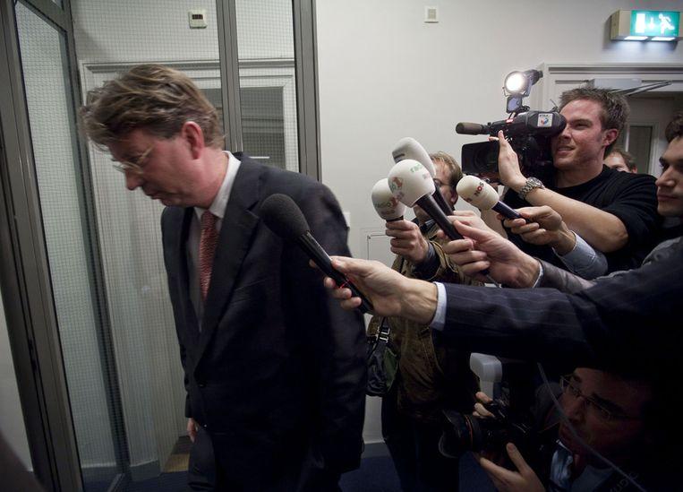 2009: Arend Jan Boekestijn geeft een korte verklaring aan de pers nadat hij is opgestapt als Tweede Kamerlid voor de VVD, omdat hij uit de school was geklapt over een vertrouwelijke bijeenkomst bij toenmalig koningin Beatrix. Beeld anp