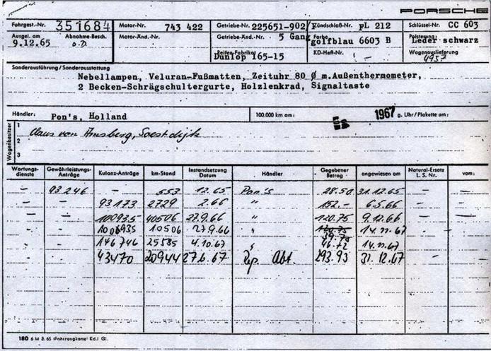 De Porsche 912 van Prins Claus heeft twee eigenaars gehad. In totaal zijn er slechts 50.137 kilometers mee gereden.
