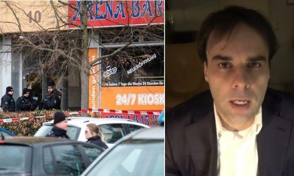 Schutter Tobias Rathjen sloeg toe in de Arena Bar in Hanau. Maar hij had voor de aanslag ook al prospectie gedaan, zo is gebleken uit beelden van een bewakingscamera.