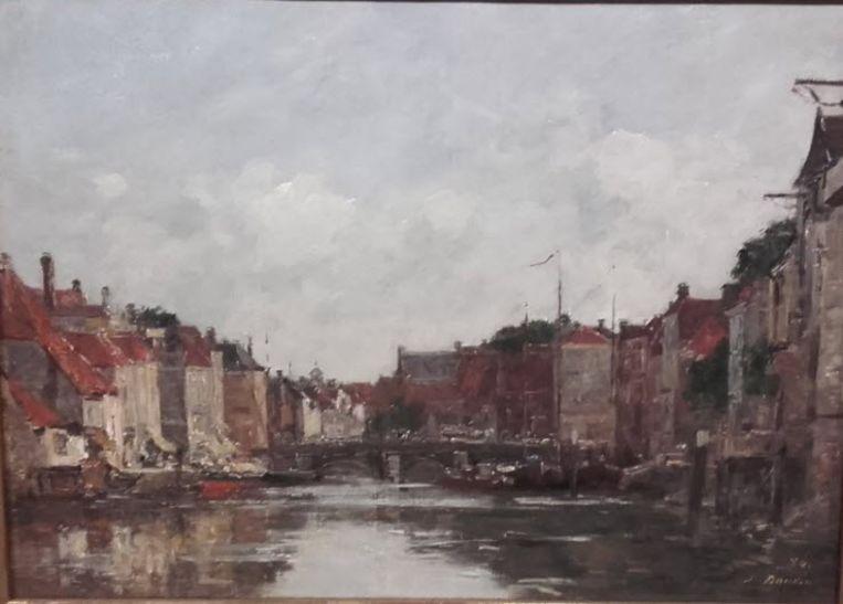 Zo schilderde de Franse schilder Boudin de Voorstraatshaven in Dordrecht. Beeld Willem Pekelder