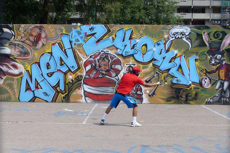 De grafittimuur Beeld Gitta Grol