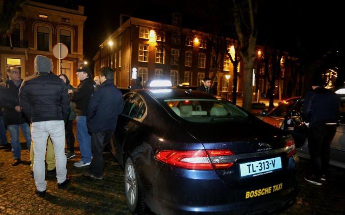 Taxichauffeurs in Den Bosch staakten vrijdagnacht.