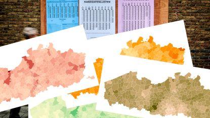 VERKIEZINGEN IN KAART. Waar haalde elke partij stemmen, en waar liet ze er liggen?