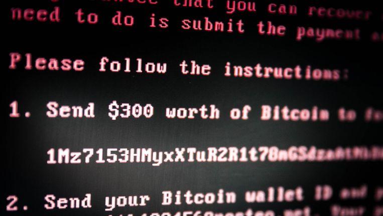 Dit is de melding die op computers met het nieuwe virus verschijnt. Beeld null