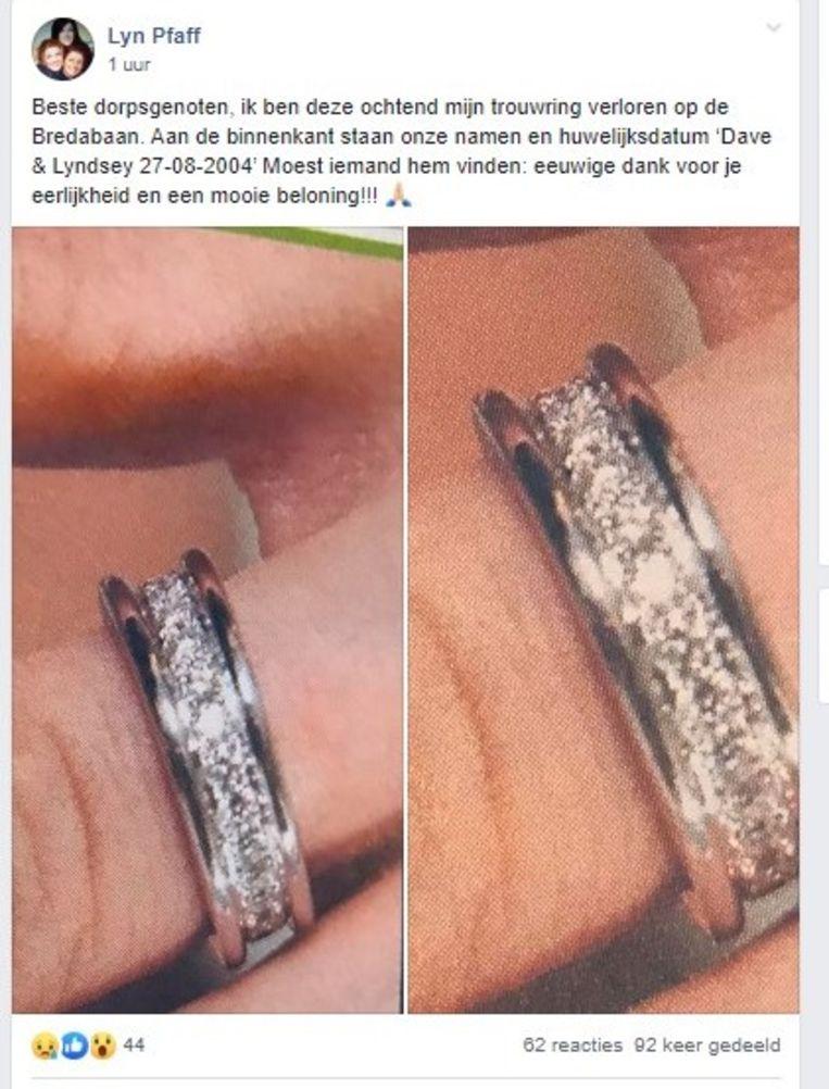 Lyndsey Pfaff is haar trouwring verloren.