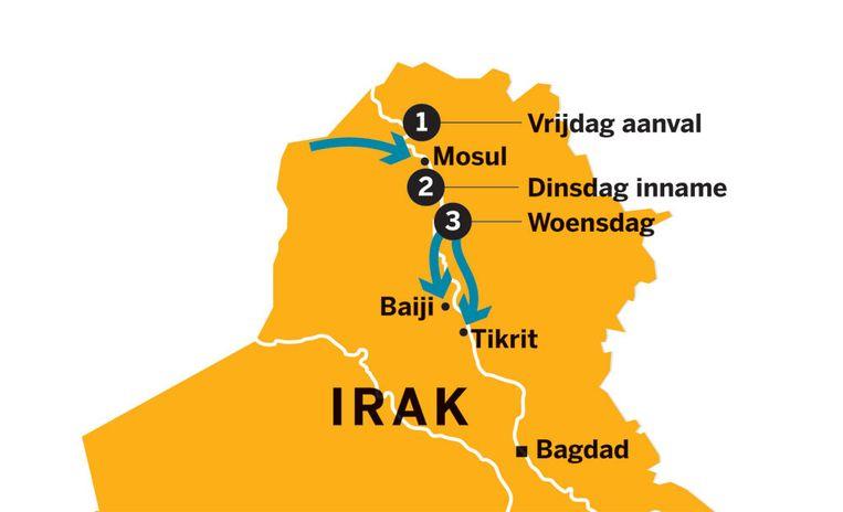 Het jihadleger ISIS rukt razendsnel op in Irak. Binnen 48 uur zijn Mosul, Tikrit en olieplaats Baiji gevallen. Beeld null