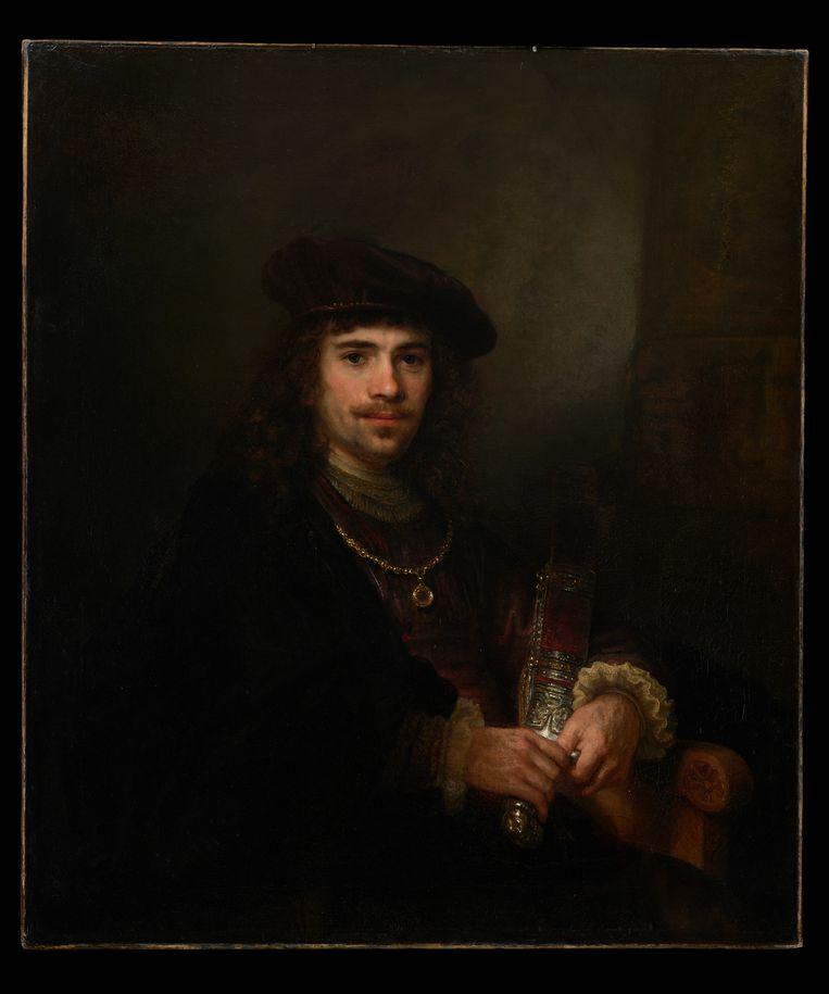 Rembrandt en atelier, Man met zwaard, ca. 1640-44. Doek, 102,3 x 88,5 cm, New York, The Leiden Collection. Beeld *