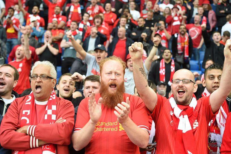 Supporter van Liverpool. Beeld null