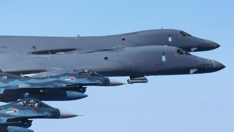 Twee B-1's vorige week boven de Stille Oceaan. Beeld Japan Air Self Defense Force