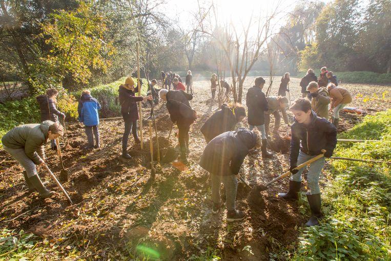 Leerlingen van de Stichtse Vrije School in Zeist helpen Sonne Copijn met het planten van bomen en struiken. Beeld Jorgen Caris