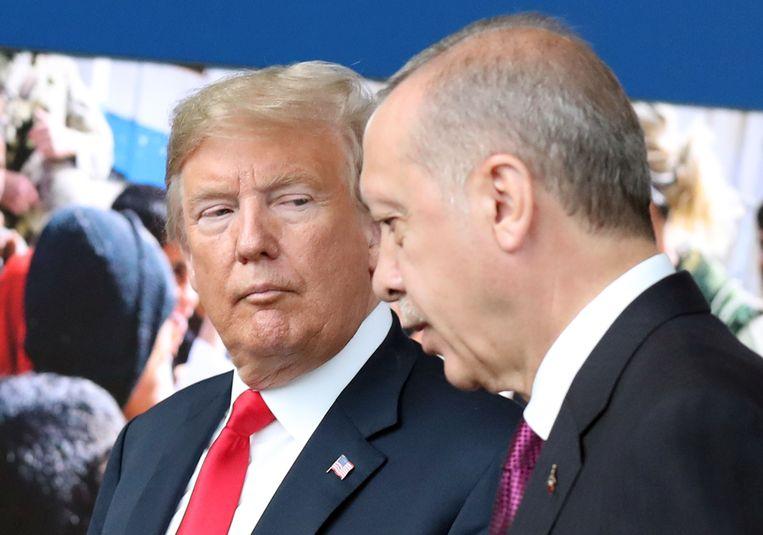 De Amerikaanse president Donald Trump en de Turkse president Recep Tayyip Erdogan.
