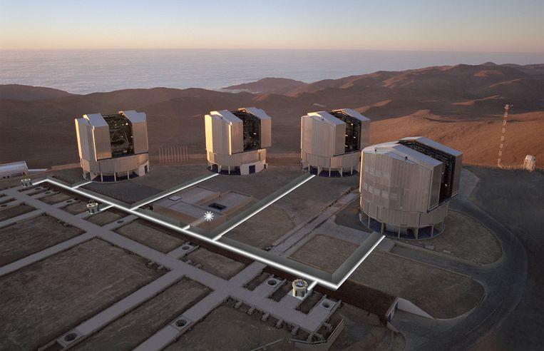 Astronomen knoopten de vier hoofdtelescopen van de Very Large Telescope in Chili aan elkaar tot een virtuele supertelescoop, en gebruikten deze om de atmosfeer van exoplaneet HR8799e ongekend nauwkeurig in kaart te brengen. Beeld ESO