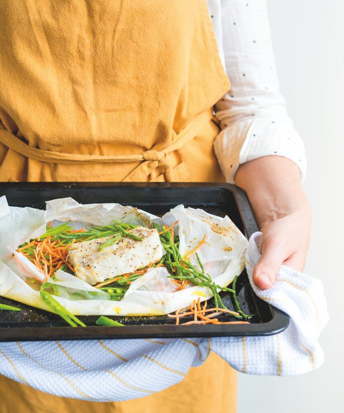 Pakketjes van kabeljauw, zeekraal en groente
