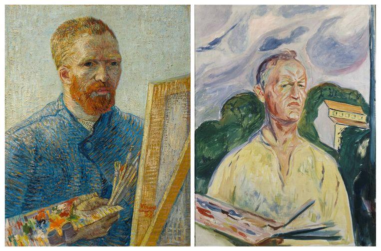 Vincent van Goghs Zelfportret als schilder (1887/1888) en Edvard Munchs Zelfportret met palet (1926). De schilders kenden elkaar niet, maar hun werk heeft wel veel parallellen. Beeld Foto's Reuters