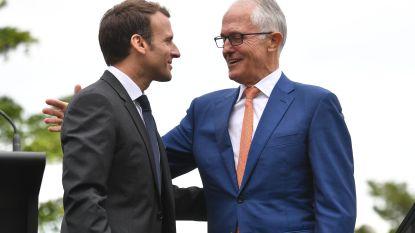 """Macron bedankt Australische premier per ongeluk iets te hartelijk: """"Bedankt, jij en je lekkere vrouw"""""""