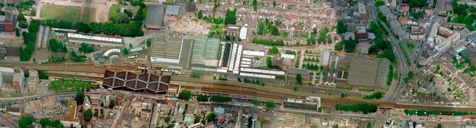 De Spoorzone in Tilburg vanuit de lucht gezien.