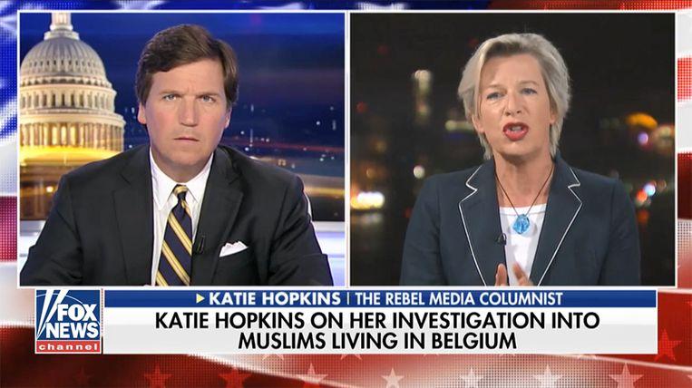 Katie Hopkins vertelt tegen Fox-presentator Tucker Carlson over haar bezoek aan Molenbeek.