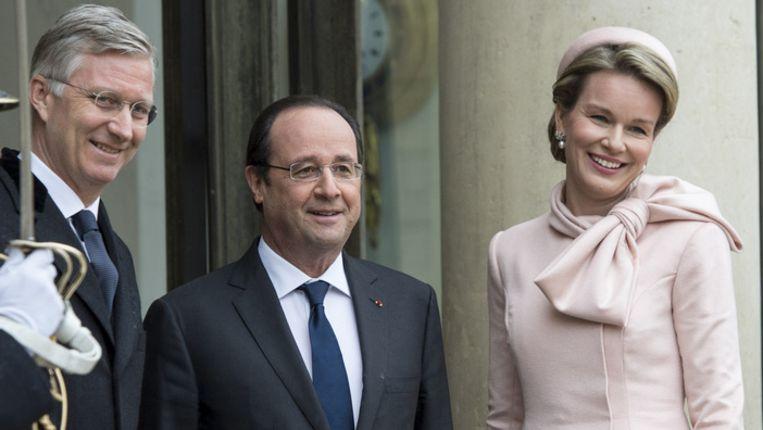 Koning Filip, de Franse president Hollande en koningin Mathilde in Parijs.