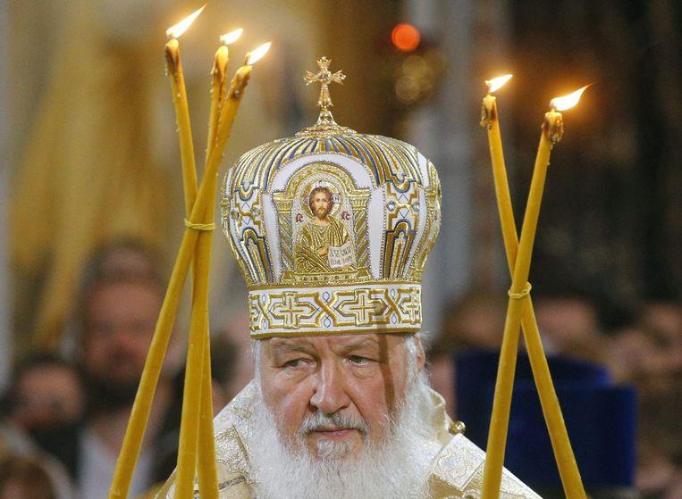 De Russisch-Orthodoxe patriarch Kirill, in januari in Moskou, bij een kerstviering. Beeld epa