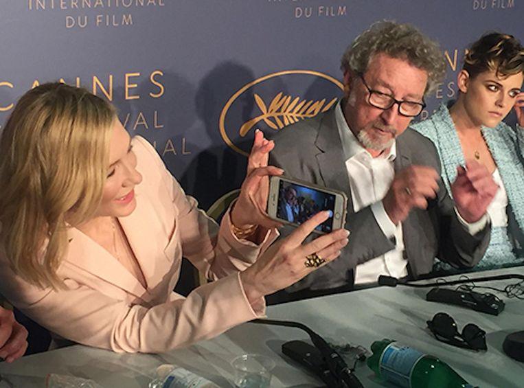 Cate Blanchett, dit jaar juryvoorzitter in Cannes, en andere juryleden Robert Guédiguian en Kristen Stewart Beeld Jan Pieter Ekker