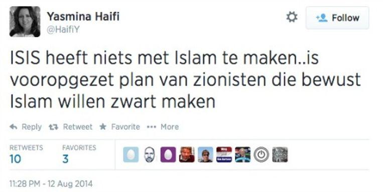 De -later verwijderde- tweet van Yasmina Haifi, ambtenaar bij het Nationaal Cyber Security Centrum. Beeld Twitter