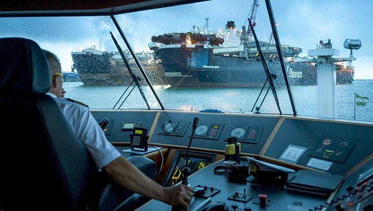 Offshorebedrijf Allseas ontmantelt booreilanden met dit schip, de Pioneering Spirit Beeld Lex van Lieshout/EPA