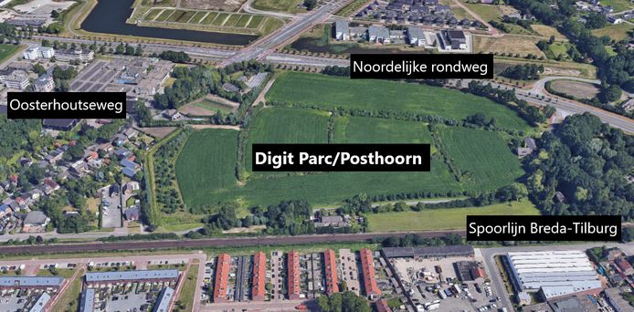 Het gebied in Breda waar Digit Parc, oftewel de Posthoorn, zou  moeten verrijzen.