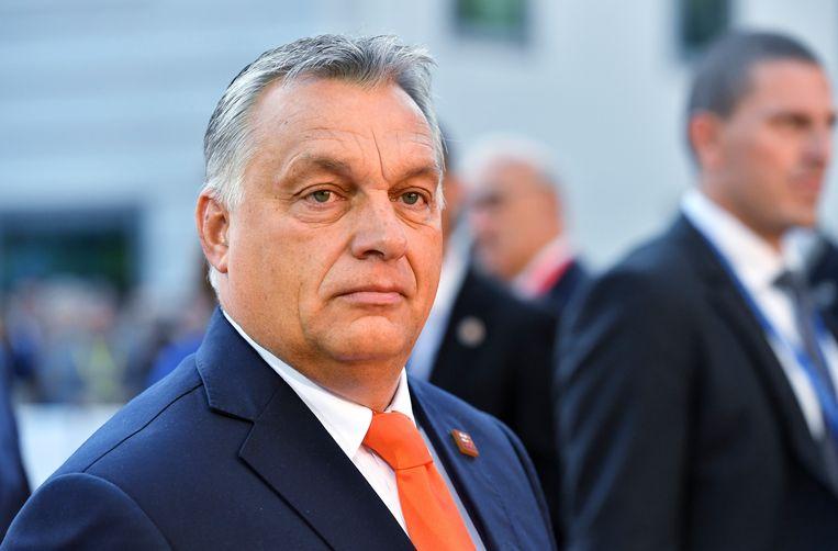De Hongaarse premier Viktor Orban bij de EU top in Salzburg, Oostenrijk in september.  Beeld AP