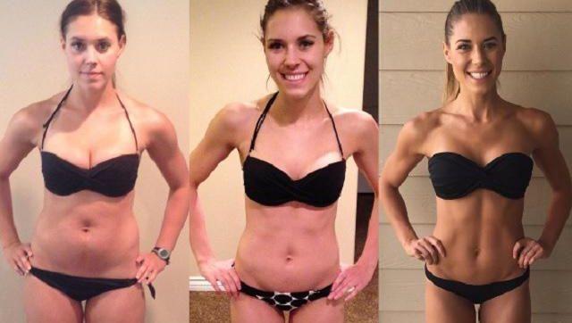 Fitnessblogster Kelsey Wells wil met deze beelden aantonen dat het cijfer op de weegschaal niet zo belangrijk is