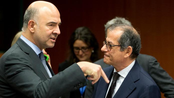 Le commissaire européen chargé des Affaires économiques Pierre Moscovici et le ministre italien de l'Économie Giovanni Tria