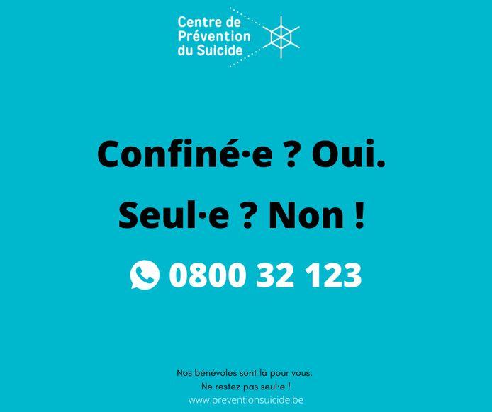 La campagne du centre de prévention du suicide durant le confinement.