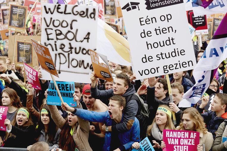 Protest tegen studentenleenstelsel op het Malieveld in Den Haag. Beeld anp