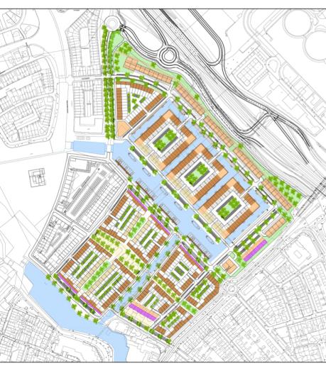 Hofjes, veel water en hoge appartementen in nieuwste deel Waterfront
