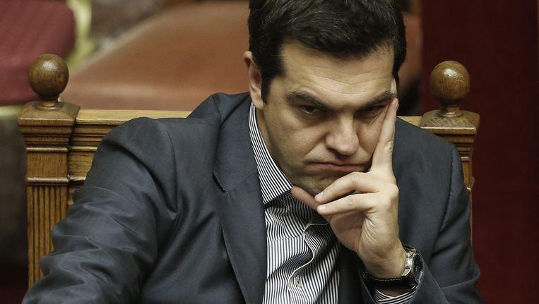 Premier Alex Tsipras tijdens de bijeenkomst van het parlement. Beeld epa