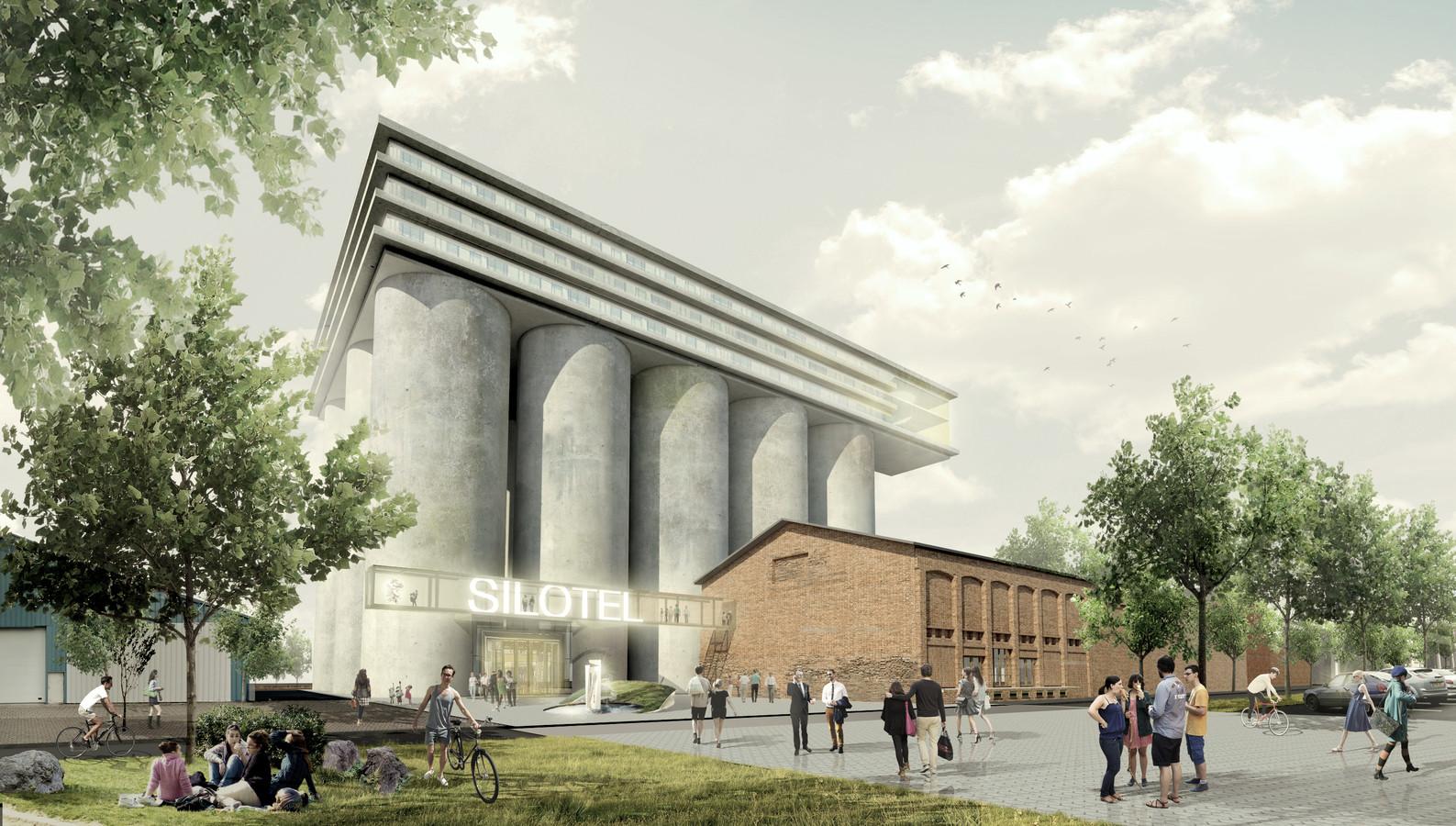 Artist impression 'silotel' Noordkade Veghel. Ontwerp door de Architekten Cie., architecten: Pi de Bruijn en Wessel Vreugdenhil, www.cie.nl