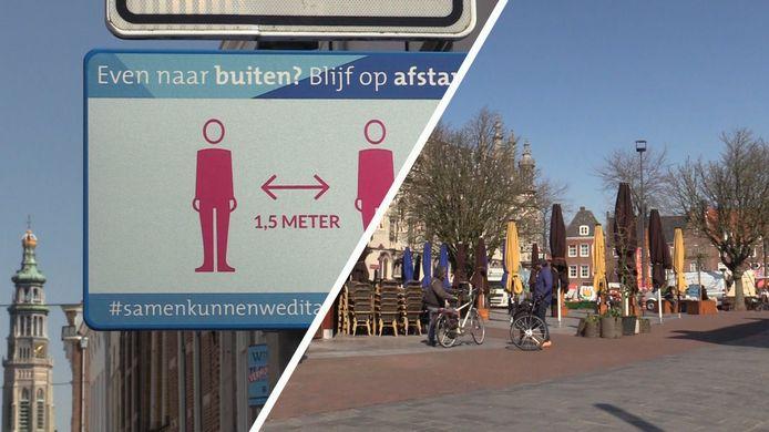 Donderdag, marktdag in Middelburg; maar vanwege de coronacrisis was het bijna griezelig rustig in de stad.