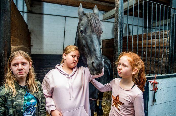 Lotte (links), Melissa (rechts) en andere meisjes nemen afscheid van het Friese paard Doutzen.