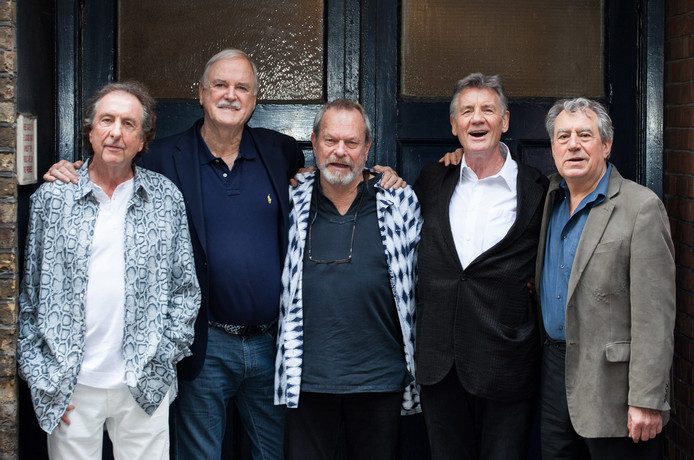 La troupe des Monty Python: Eric Idle, John Cleese, Terry Gilliam, Michael Palin et Terry Jones (de gauche à droite), en 2014, à Londres