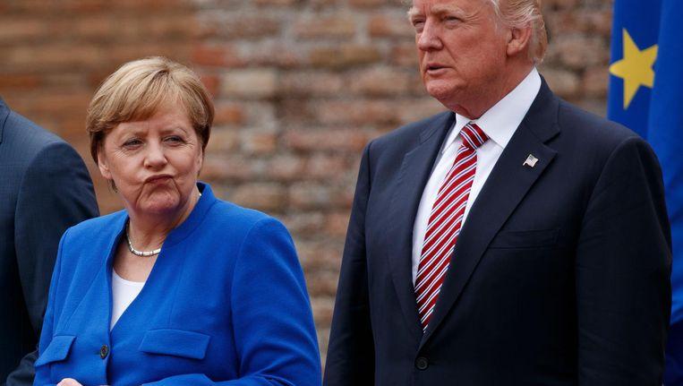Angela Merkel en Donald Trump op de G7-top in Italië in mei vorig jaar. Duitsland wordt nu gezien als wereldleider. Beeld ap
