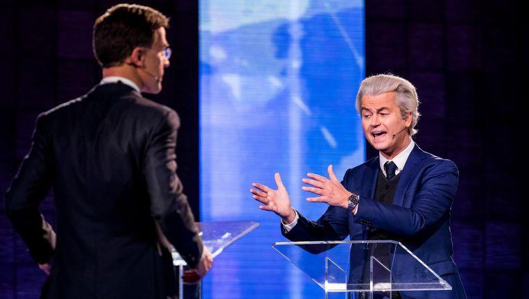 PVV-leider Geert Wilders in debat met VVD-leider Mark Rutte voorafgaand aan de verkiezingen. Beeld anp