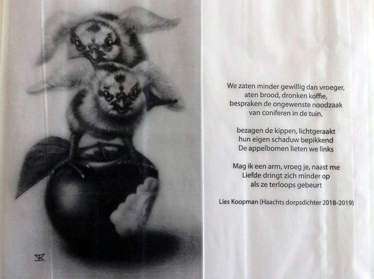Wie een brood koopt bij bepaalde Haachtse bakkers krijgt dat de komende periode mee in een mooie broodzak met een kunstwerk van de Haachtse kunstenares Inge Kennis en een gedicht van de dorpsdichter Lies Koopman.