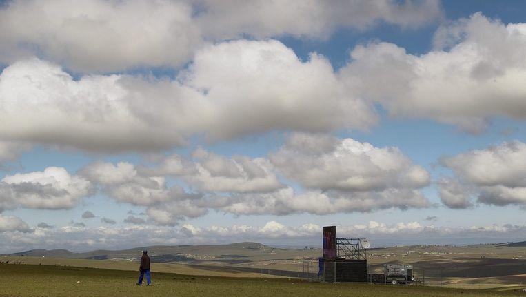 Het veld waar het publiek de uitvaart van Mandela kan volgen. Beeld epa