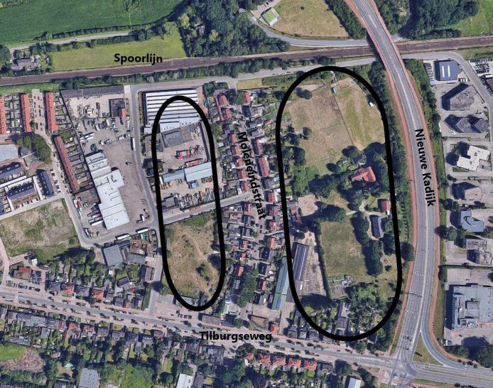 Rechts - in het grote ovaal - is het gebied aangegeven waar in eerste instantie (planfase 1 en 2) woningen komen. Links is het gebied aangegeven waar op de midden- tot lange termijn ook woningen kunnen komen.