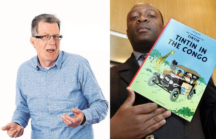 Columnist Jan van de Kasteele vraagt zich af of hij door het lezen van Kuifje in Afrika ook een racist is. Rechts de Congolees Bienvenu Mbuto Mondo die tien jaar geleden al vergeefs probeerde het stripboek uit de handel te krijgen.