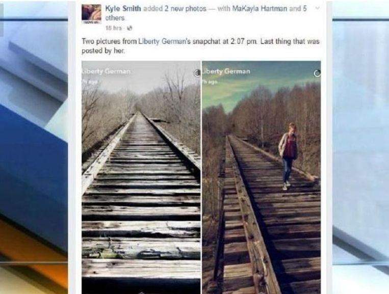 Libby postte ook nog deze twee beelden op Snapchat. Op een foto staat Abby. In de achtergrond werden ze toen al achtervolgd.